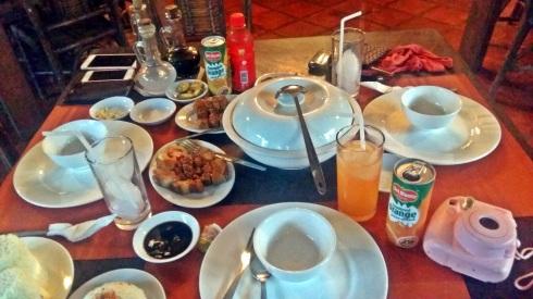 Sinigang Shrimp, Chicharon Bulaklak, and Lechon Kawali for dinner :)